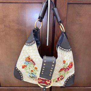 BCBGirl Floral Embroidered Shoulder Bag